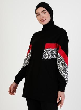 Crew neck - Leopard - Black - Sweat-shirt