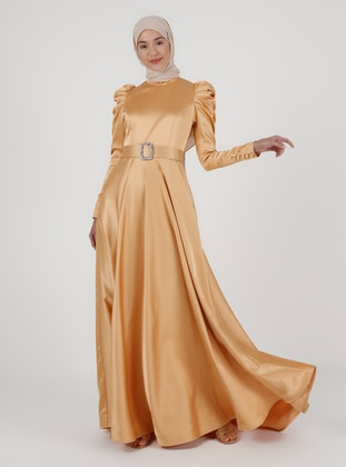 Mustard - Fully Lined - Polo neck - Modest Evening Dress