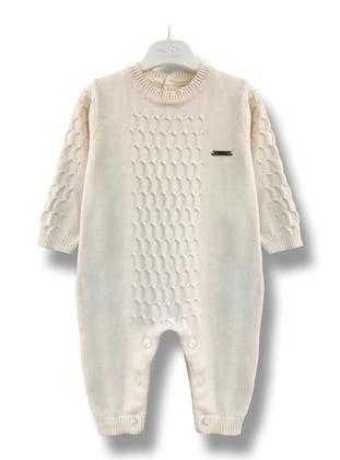 Crew neck - Unlined - Cream - Baby Sleepsuit