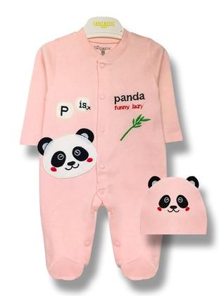 Multi - Crew neck - Unlined - Pink - Baby Sleepsuit