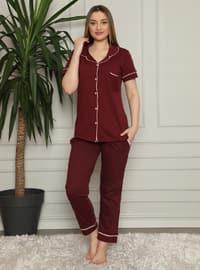 Maroon - Shawl Collar - Pyjama Set