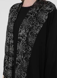 Black - Jacquard - Crew neck - Unlined - Plus Size Suit