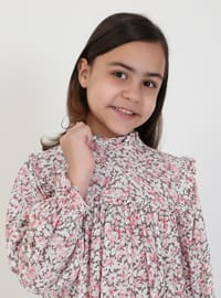 Floral - Polo neck - Pink - Girls` Dress