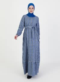 Saxe - Checkered - Crew neck - Unlined - Modest Dress