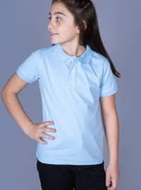 Polo - Unlined - Blue - Girls` T-Shirt