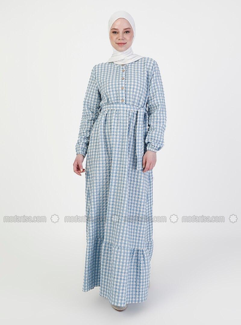 Hellblau Kariert Rundhalsausschnitt Ohne Innenfutter Hijab Kleid