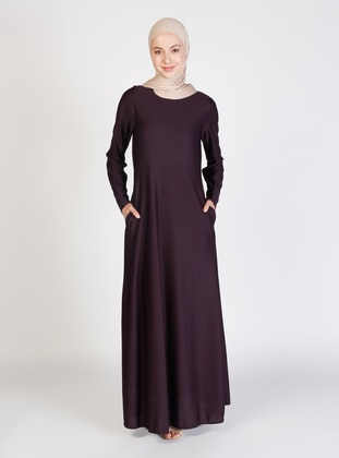 Plum - Crew neck - Unlined - Modest Dress