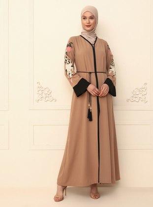 Beige - Black - Evening Abaya
