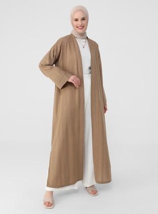 Biscuit - Camel - V neck Collar - Unlined - Abaya