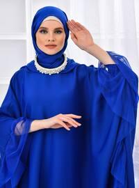 Elektrik mavisi - Astarsız - Yuvarlak Yaka - Abaya