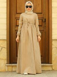 Vizon Çizgili Yuvarlak Yaka Astarsız Elbise