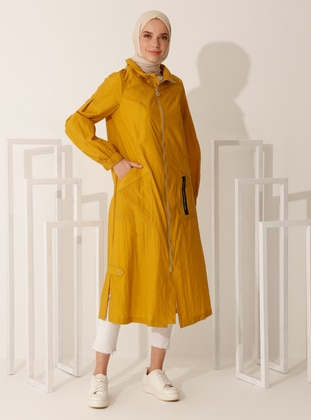 Mustard - Unlined - Polo neck - Trench Coat