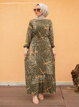 Khaki - Multi - Crew neck - Unlined - Modest Dress