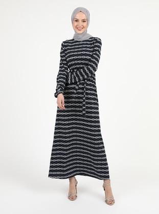 White - Navy Blue - Multi - Unlined - Modest Dress