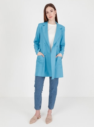 Blue - Fully Lined - V neck Collar - Blazer Jacket - Fashion Light