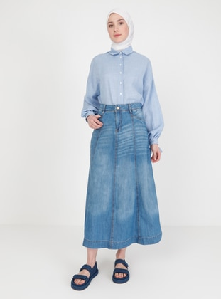 Blue - Unlined - Skirt - DE-MİM
