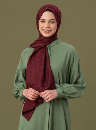 Maroon - Printed - Jacquard - Cotton - Shawl