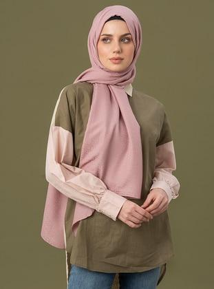 Pink - Printed - Jacquard - Cotton - Shawl