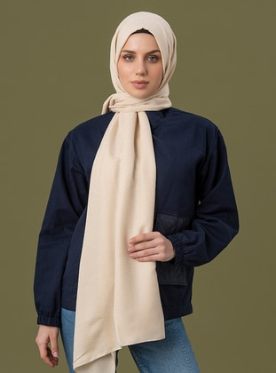 Cream - Printed - Jacquard - Cotton - Shawl