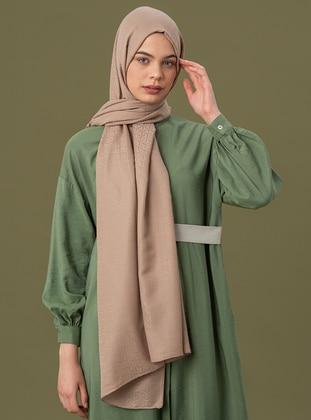 Beige - Printed - Jacquard - Cotton - Shawl