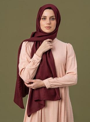 Maroon - Geometric - Jacquard - Cotton - Shawl