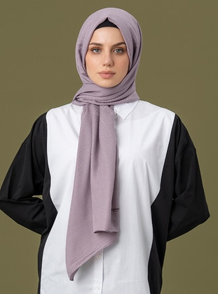 Lilac - Geometric - Jacquard - Cotton - Shawl