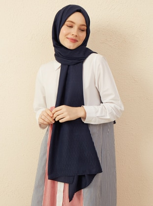 Navy Blue - Printed - Cotton - Shawl
