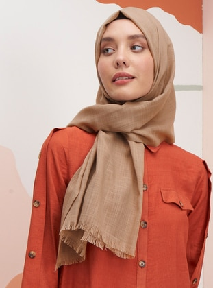 Brown - Plain - Linen - Shawl