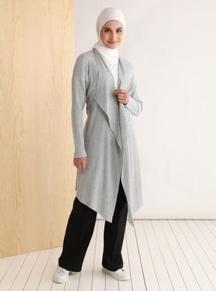Gray - Shawl Collar - Cotton - Cardigan - Tavin