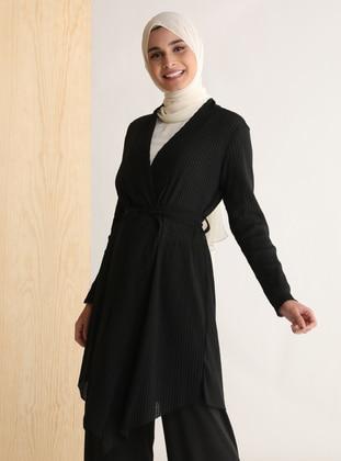 Black - Shawl Collar - Cotton - Cardigan - Tavin