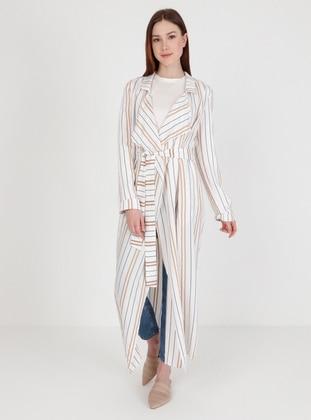 White - Stripe - Unlined - Kimono