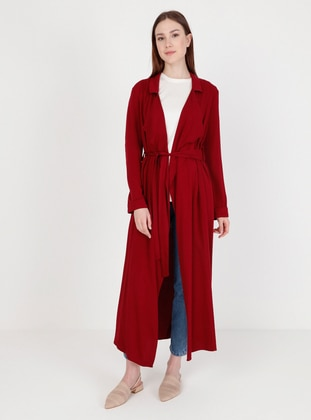 Maroon - Unlined - Kimono - Fashion Light
