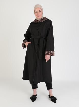 Black - Leopard - Fully Lined - V neck Collar - Trench Coat