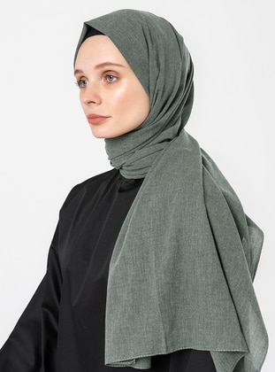 Green - Plain - Cotton - Shawl