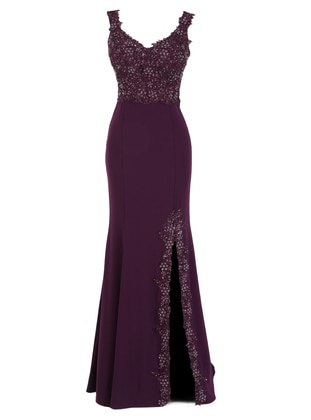 Fully Lined - Stripe - Maroon - Crew neck - Evening Dresses