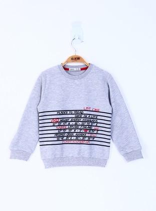 Printed - Crew neck - Unlined - Gray - Boys` Sweatshirt
