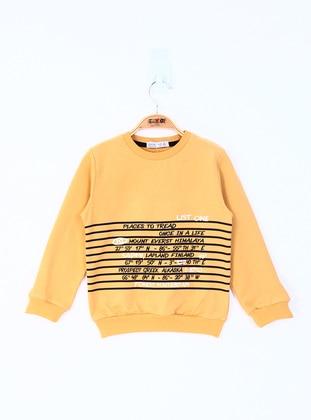 Printed - Crew neck - Unlined - Mustard - Boys` Sweatshirt