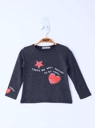 Multi - Crew neck - Fully Lined - Anthracite - Girls` Sweatshirt