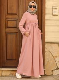 Powder - Round Collar - Unlined - Modest Dress