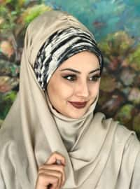Beige - Gray - Printed - Instant Scarf