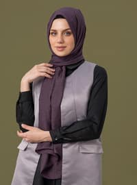 Purple - Printed - Jacquard - Cotton - Shawl