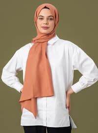 Salmon - Orange - Geometric - Jacquard - Cotton - Shawl