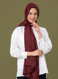 Maroon - Printed - Cotton - Shawl