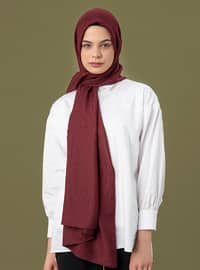 Maroon - Printed - Cotton - Shawl