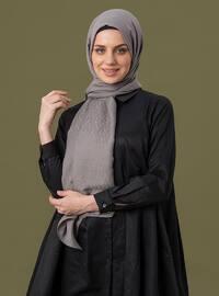 Gray - Printed - Cotton - Shawl