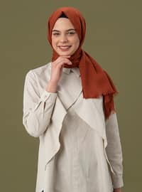 Terra Cotta - Plain - Linen - Shawl
