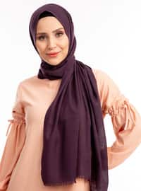 Purple - Plain - Linen - Shawl