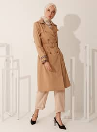 Camel - Leopard - Fully Lined - V neck Collar - Trench Coat