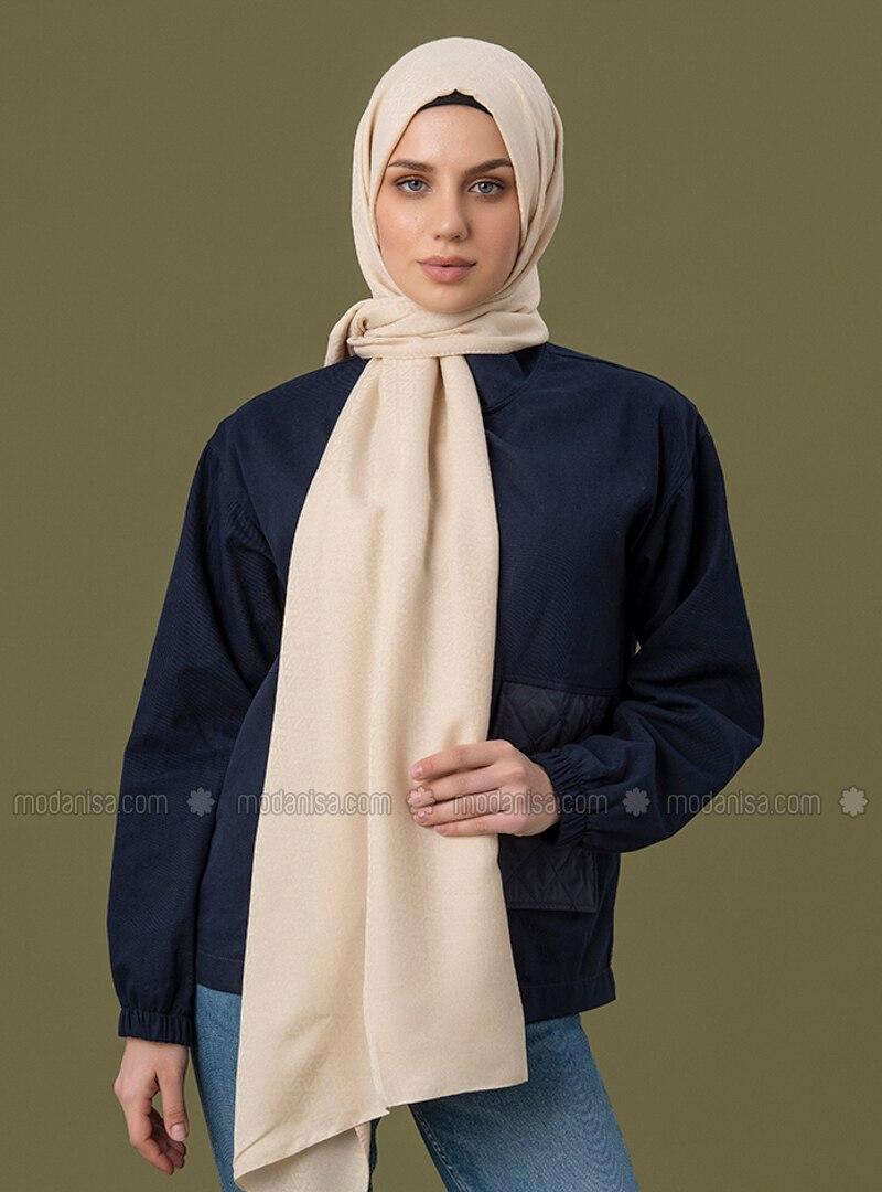 Cream - Printed - Jacquard - Cotton - Shawl
