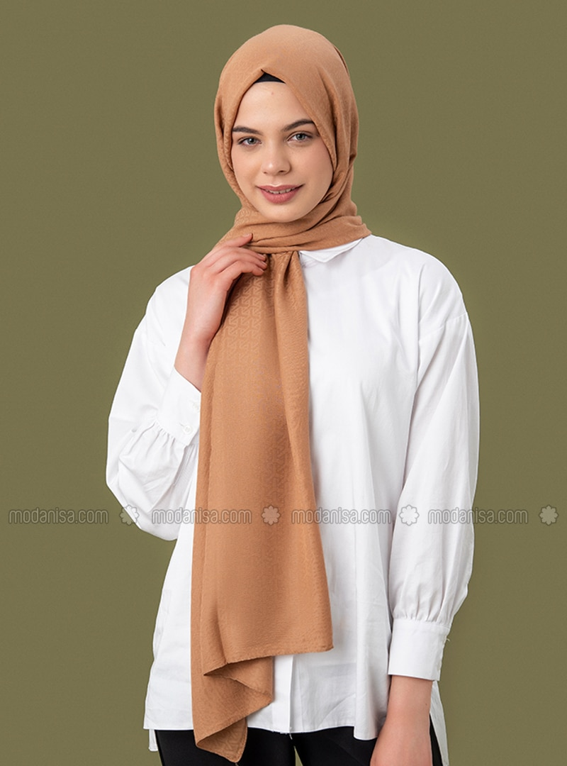 Brown - Printed - Jacquard - Cotton - Shawl